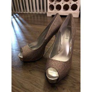 Guess color sparkle heels